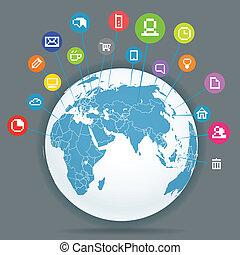 media, abstract, plan, netwerk, sociaal