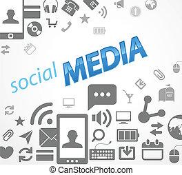 media, abstract, sociaal, iconen