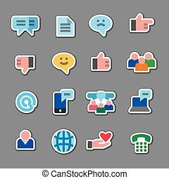 media, adesivi, sociale