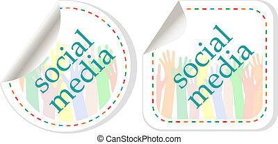 media, adesivo, set, mani, sociale