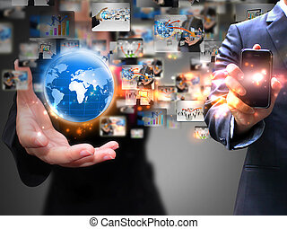media, affari persone, presa a terra, sociale