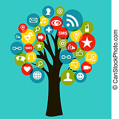 media, albero, reti, affari, sociale