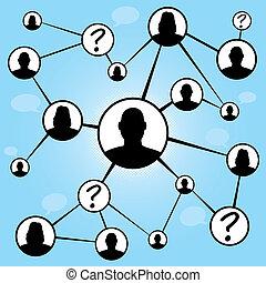media, amici, grafico, sociale