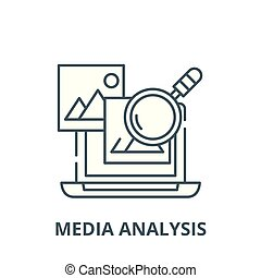 Media analysis vector line icon, linear concept, outline sign, symbol