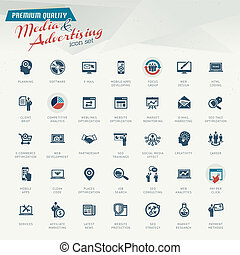 Media and advertising icon set - Set of business retro icons...