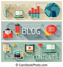 Media and banners set design with blog icons