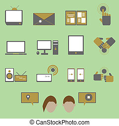 Media and communication color icons on green background