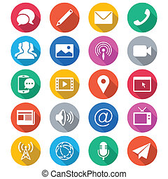 Media and communication flat color icons. Simple vector icons. Clear and sharp. Easy to resize.
