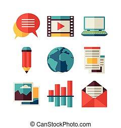 Media and communication set of blog icons