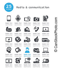Media and communication - Set of icons of communication. A ...