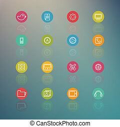 media and Mobile Interface Circle Series on  Retina background -