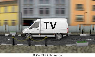 Media and news van