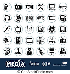 Media and social network web icons