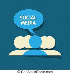 media, anförande, bubbla,  social