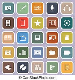 media, appartamento, icone, su, viola, fondo