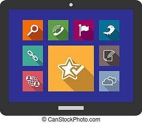 media, appartamento, multimedia, icone