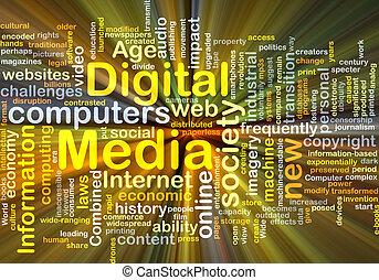 media, ardendo, concetto, fondo, digitale