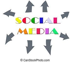 media, astratto, parola, colorito, sociale