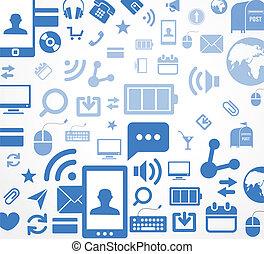 media, astratto, sociale, fondo, icone
