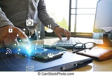 media, avskärma, icons., hand, ringa, social, toucha, smart