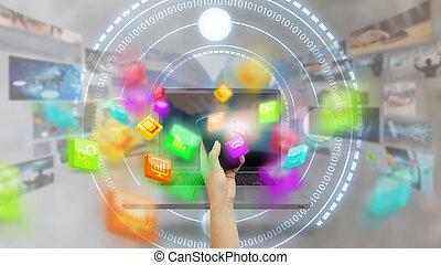 media, avskärma, ikonen, hand, ringa, social, toucha, concept., smart