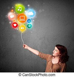 media, balloon, kobieta dzierżawa, towarzyski
