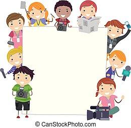 media, bambini, stickman, asse, illustrazione