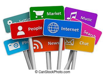 media, begrepp, internet, social