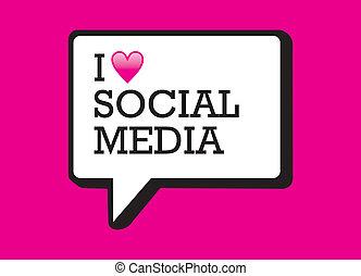 media, bel, liefde, sociaal