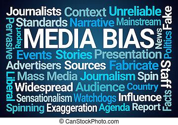 media, bias, słowo, chmura