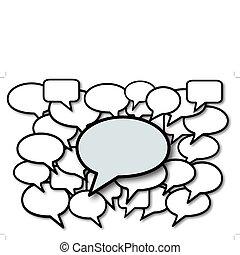 media, bolle, discorso, discorso, sociale
