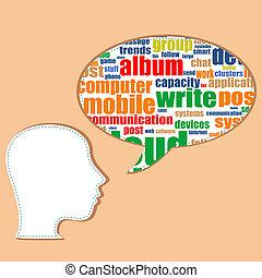 media, bolle, discorso, parola, sociale