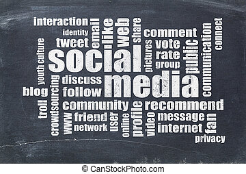 media, bord, woord, wolk, sociaal