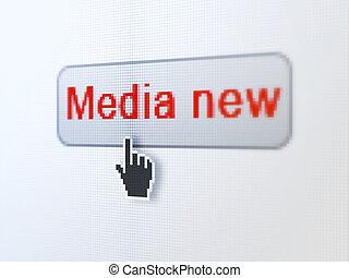 media, bottone, fondo, digitale, notizie, concept: