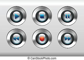 media, bottoni, giocatore, vect, musica, mp3