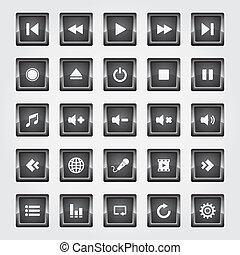 Media Button black