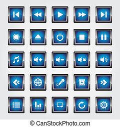 Media Button blue