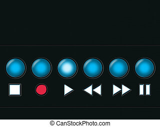 Media buttons - Media player buttons on a black metal...