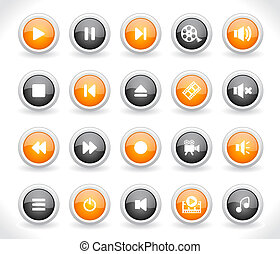 Media buttons. - Set of media buttons. Vector.