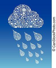 media, calcolare, nuvola, fondo, sociale