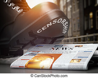 Media censorship and right of freedom of speech concept. Boot with text censorship and pile of newspaper.