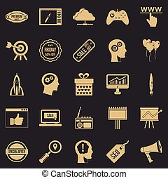 Media center icons set, simple style