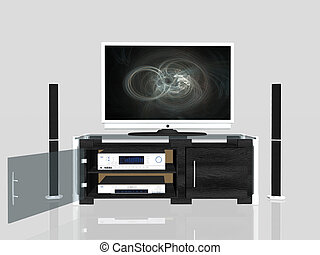 Media center, plasma screen - 3D illustation of an media ...