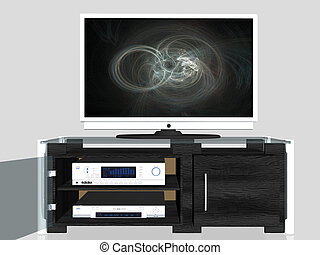 Media center, plasma screen - 3D illustation of an media...