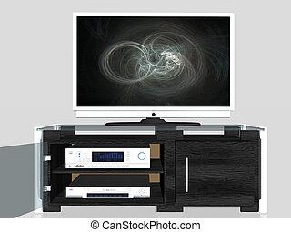 media, centrum, plasma scherm