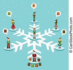 media, christmas:, netwerk, sociaal
