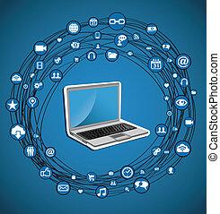 media, cirkel, netwerk, sociaal