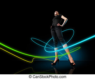 Media collection - Glowing lines girl - People in dark room...