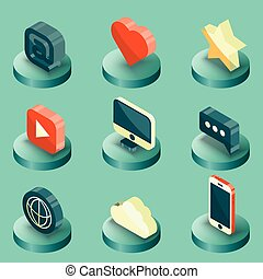Media color isometric icons set