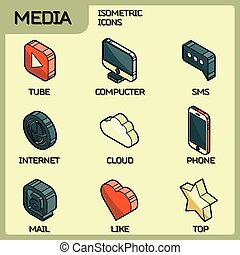 Media color outline isometric icons set
